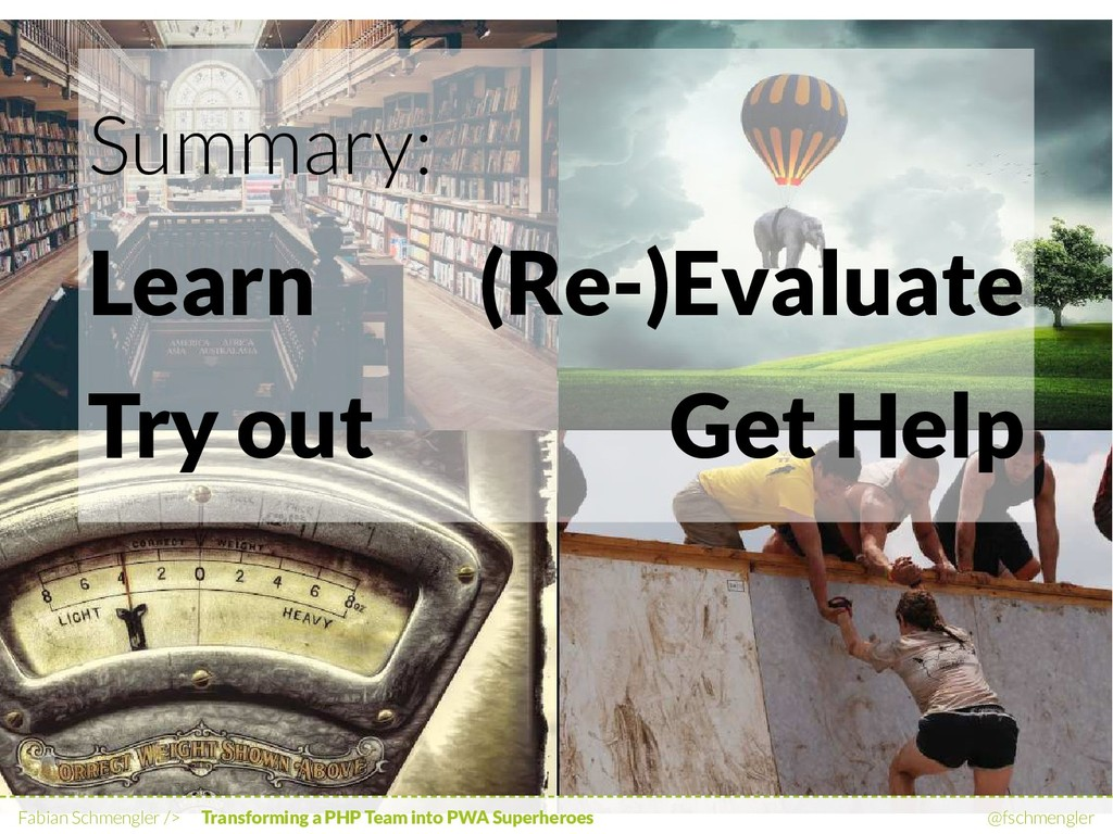 Learn Try out (Re-)Evaluate Get Help Summary: F...