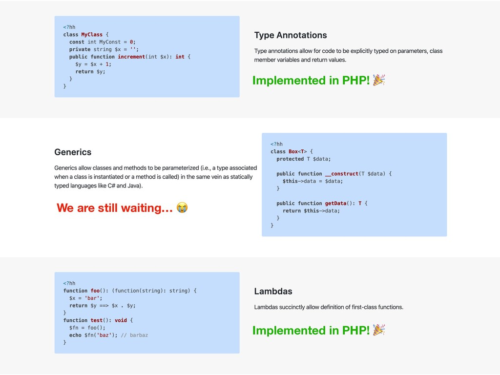 Implemented in PHP!  We are still waiting…  Imp...