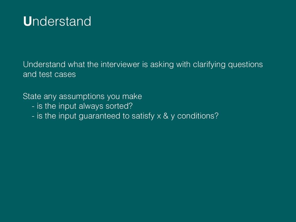 Understand  Understand what the interviewer is...
