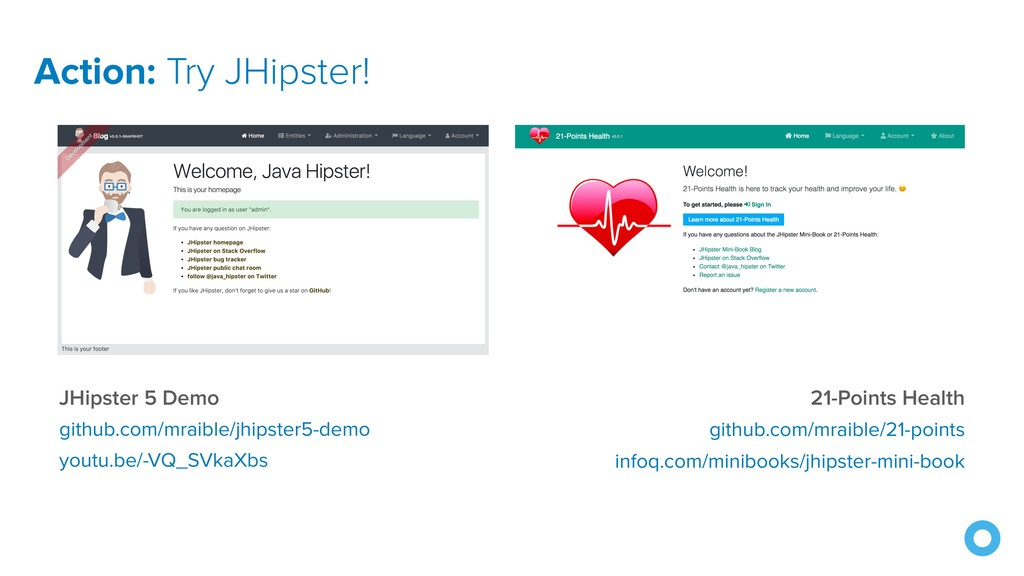 Action: Try JHipster! JHipster 5 Demo github.co...