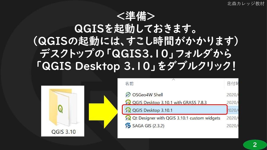 2 北森カレッジ教材 <準備> QGISを起動しておきます。 (QGISの起動には、すこし時間...