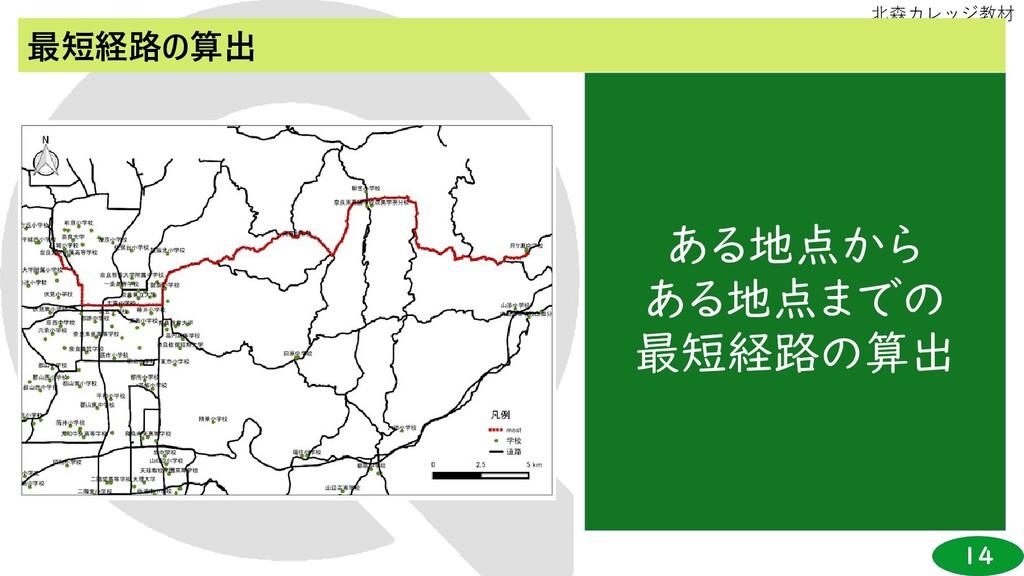14 北森カレッジ教材 最短経路の算出 ある地点から ある地点までの 最短経路の算出