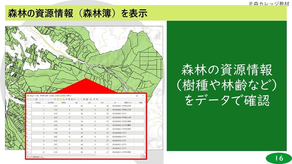 16 北森カレッジ教材 森林の資源情報(森林簿)を表示 森林の資源情報 (樹種や林齢など) を...