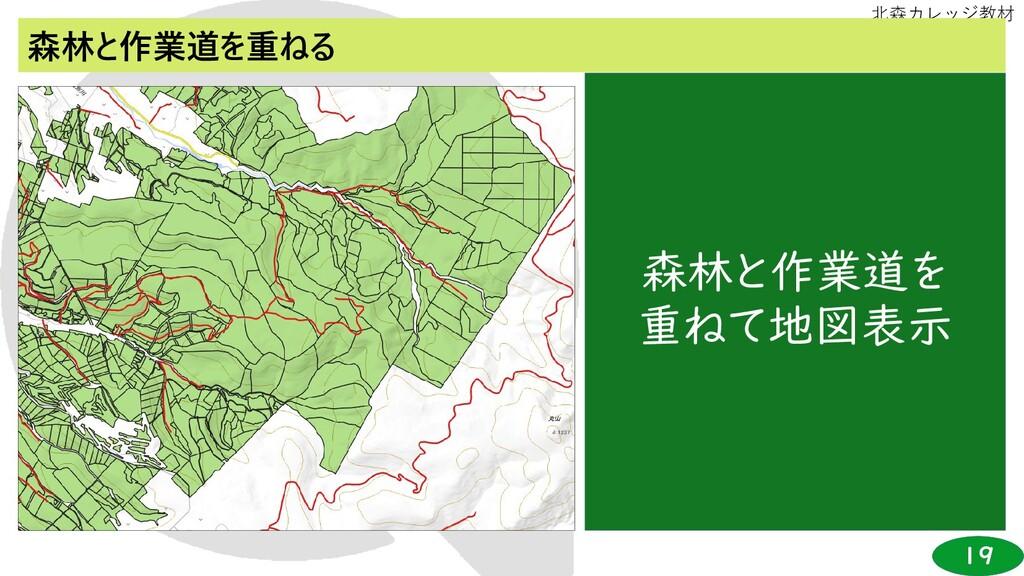 19 北森カレッジ教材 森林と作業道を重ねる 森林と作業道を 重ねて地図表示