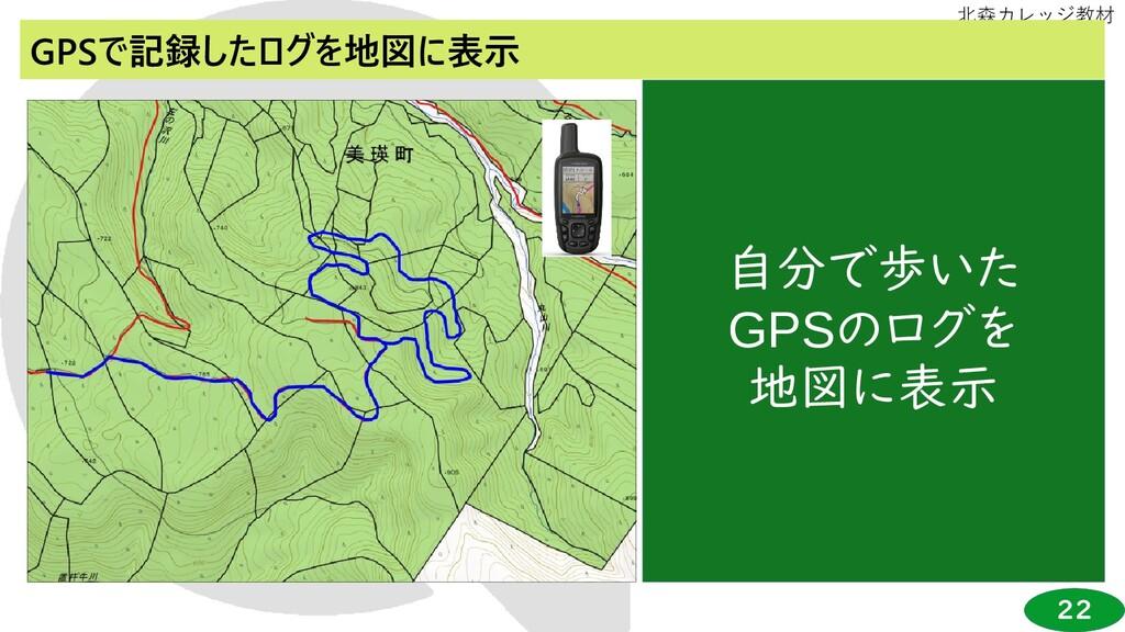22 北森カレッジ教材 GPSで記録したログを地図に表示 自分で歩いた GPSのログを 地図に...