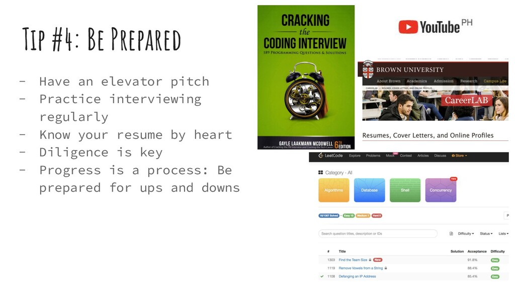 Tip #4: Be Prepared - Have an elevator pitch - ...