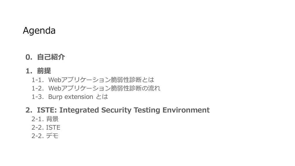 0. 自己紹介 1. 前提  1-1. Webアプリケーション脆弱性診断とは  1-2. We...