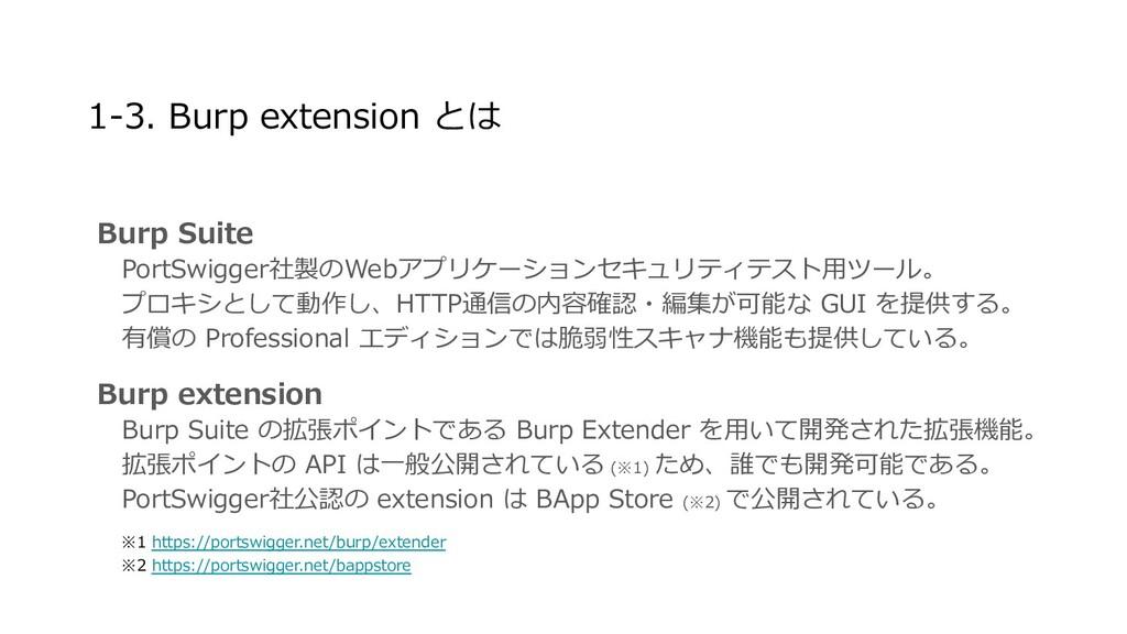 1-3. Burp extension とは Burp Suite  PortSwigger社...