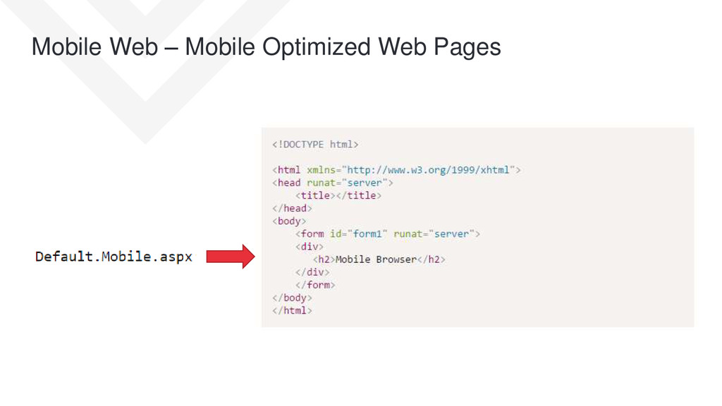 Mobile Web – Mobile Optimized Web Pages
