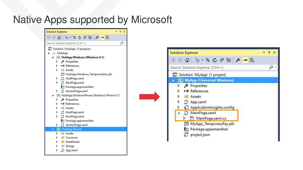 Native Apps supported by Microsoft