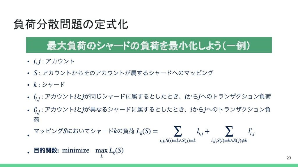 負荷分散問題の定式化 23 最大負荷のシャードの負荷を最小化しよう(一例)
