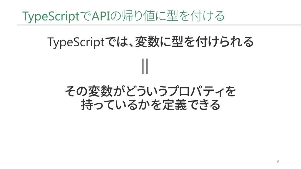 9 TypeScriptでAPIの帰り値に型を付ける TypeScriptでは、変数に型を付け...