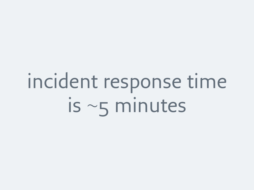 incident response time is ~5 minutes