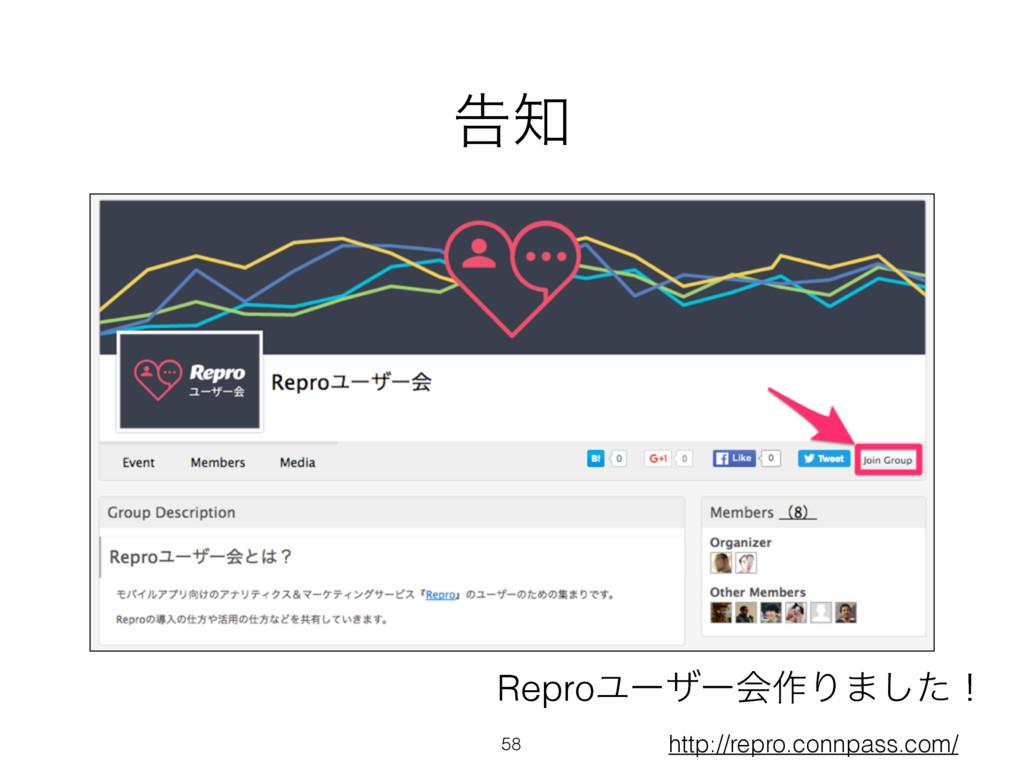 ࠂ 58 http://repro.connpass.com/ ReproϢʔβʔձ࡞Γ·͠...