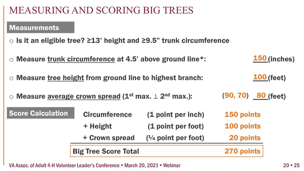 """o Is it an eligible tree? ≥13' height and ≥9.5""""..."""