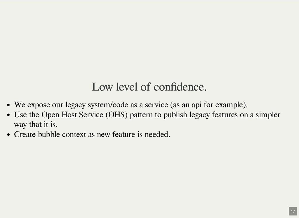Low level of confidence. Low level of confidence....