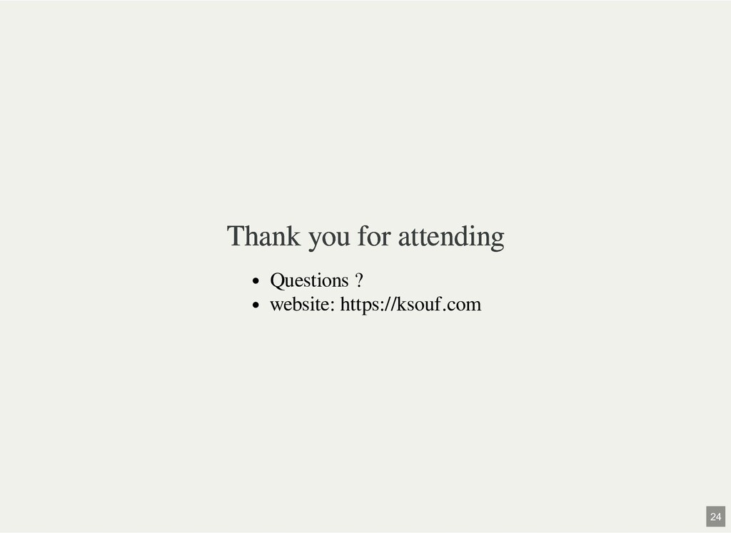 Thank you for attending Thank you for attending...