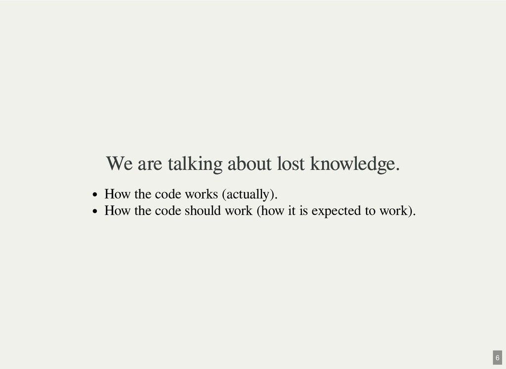 We are talking about lost knowledge. We are tal...