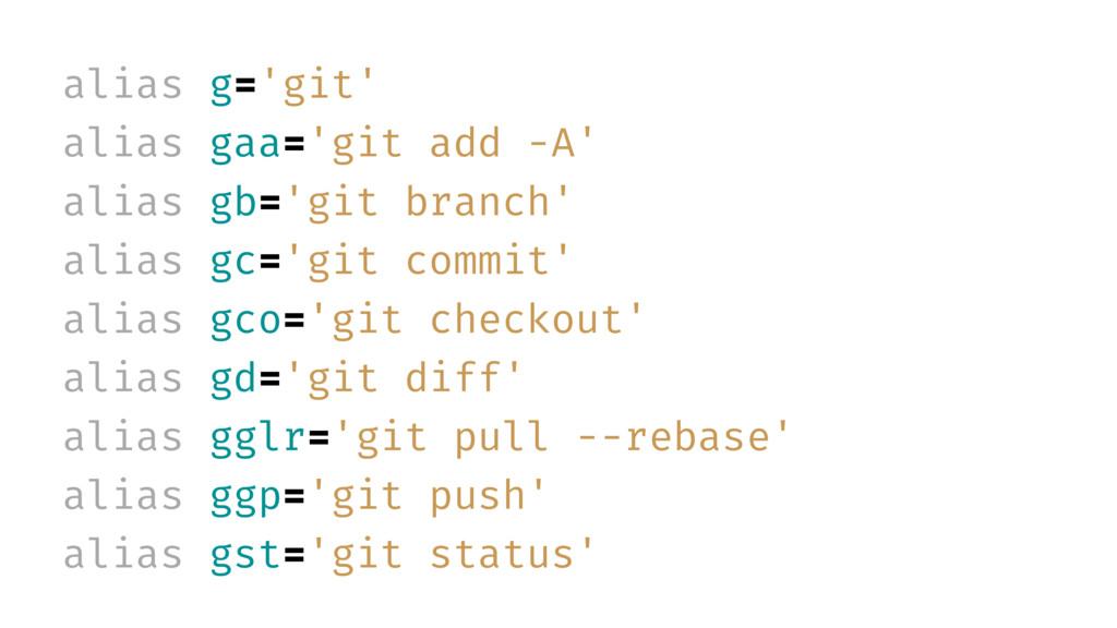 alias g='git' alias gaa='git add -A' alias gb='...