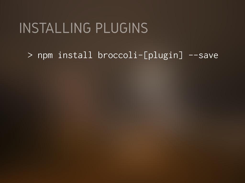INSTALLING PLUGINS > npm install broccoli-[plug...