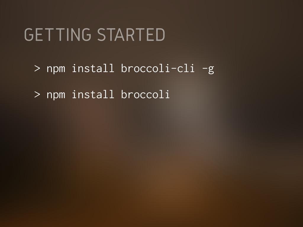 GETTING STARTED > npm install broccoli-cli -g >...