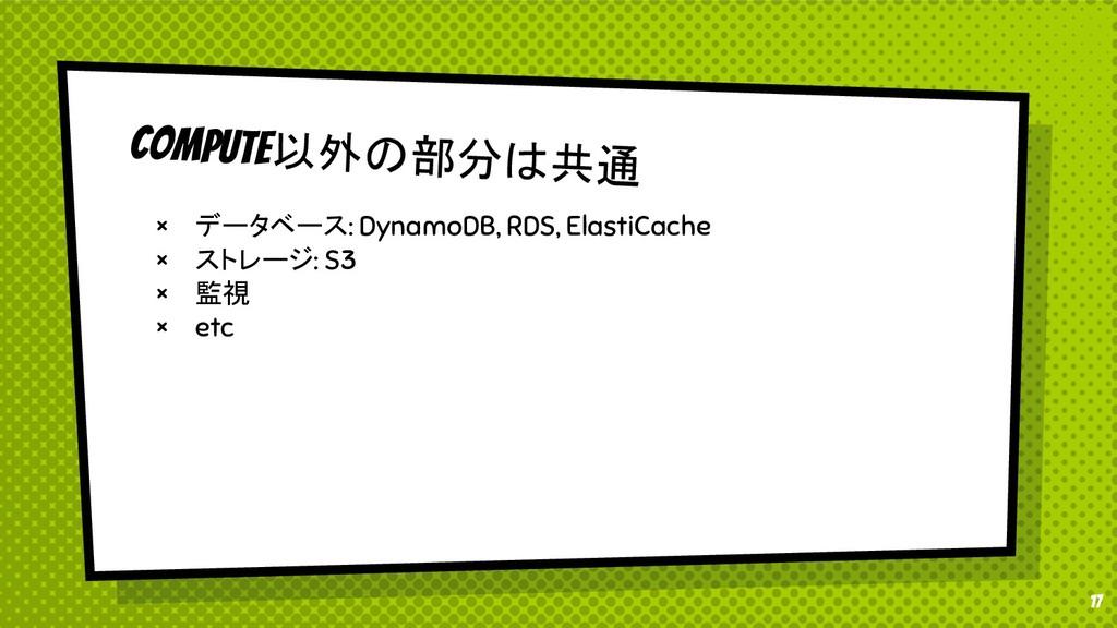 17 compute以外の部分は共通 × データベース: DynamoDB, RDS, Ela...