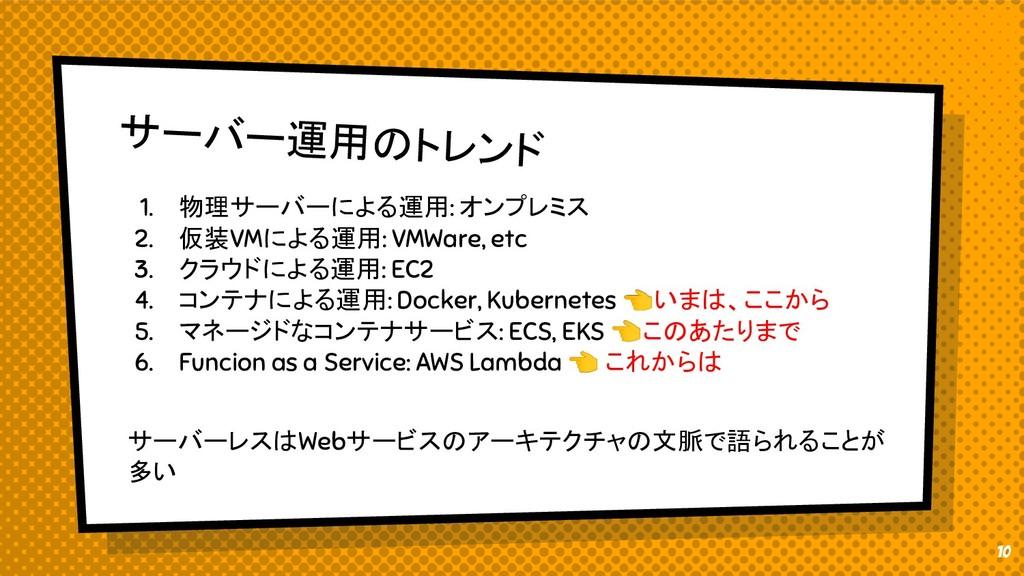 サーバー運用のトレンド 1. 物理サーバーによる運用: オンプレミス 2. 仮装VMによる運用...