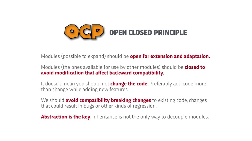OPEN CLOSED PRINCIPLE OCP Modules (possible to ...