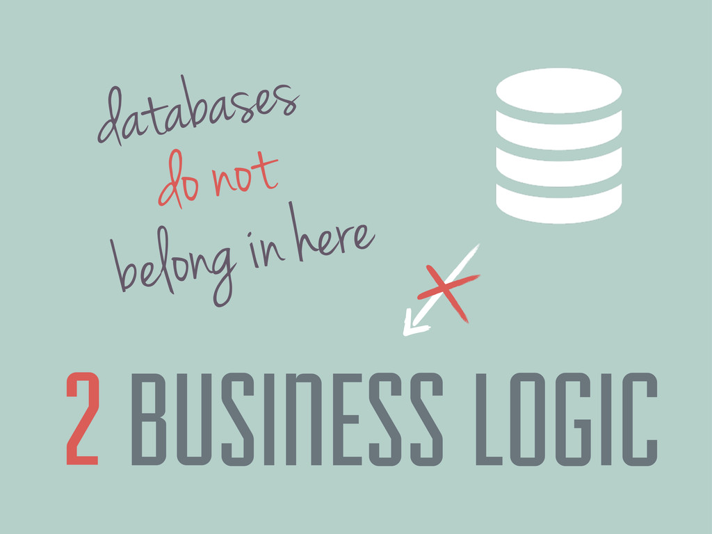databases belong in here BUSINESS LOGIC 2 do not