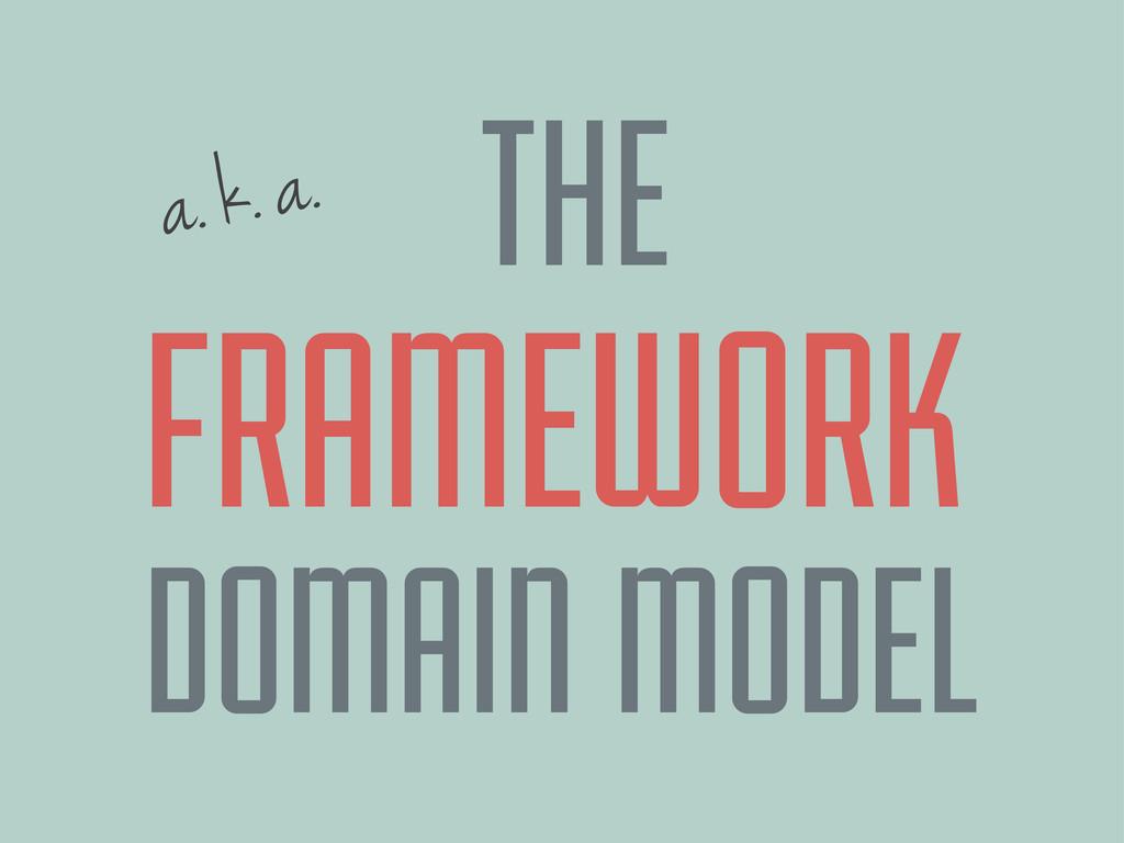 a. k. a. FRAMEWORK DOMAIN MODEL THE