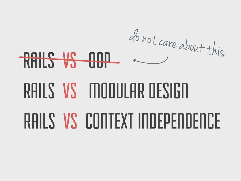 RAILS VS CONTEXT INDEPENDENCE RAILS VS MODULAR ...