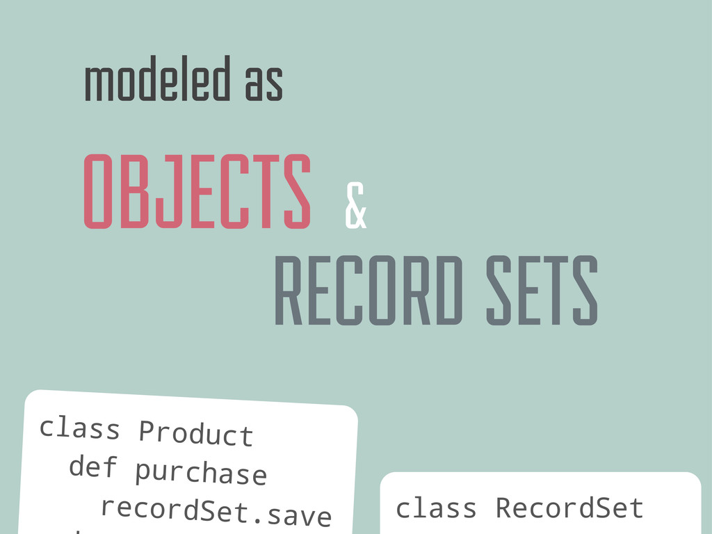 OBJECTS modeled as class Product def purchase r...