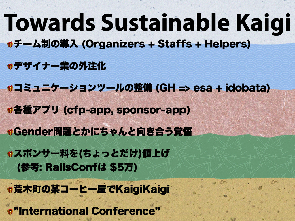 Towards Sustainable Kaigi  νʔϜ੍ͷಋೖ 0SHBOJ[FST...