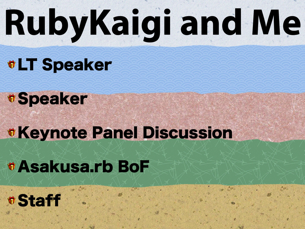 RubyKaigi and Me  -54QFBLFS  4QFBLFS  ,FZOPU...