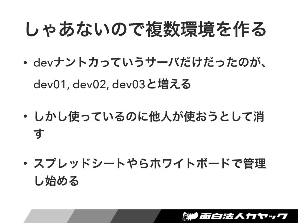 ͠Ό͋ͳ͍ͷͰෳڥΛ࡞Δ • devφϯτΧ͍ͬͯ͏αʔό͚ͩͩͬͨͷ͕ɺ dev01, ...