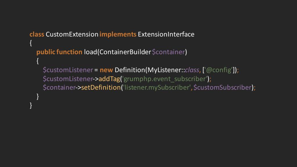 class CustomExtensionimplements Extension...