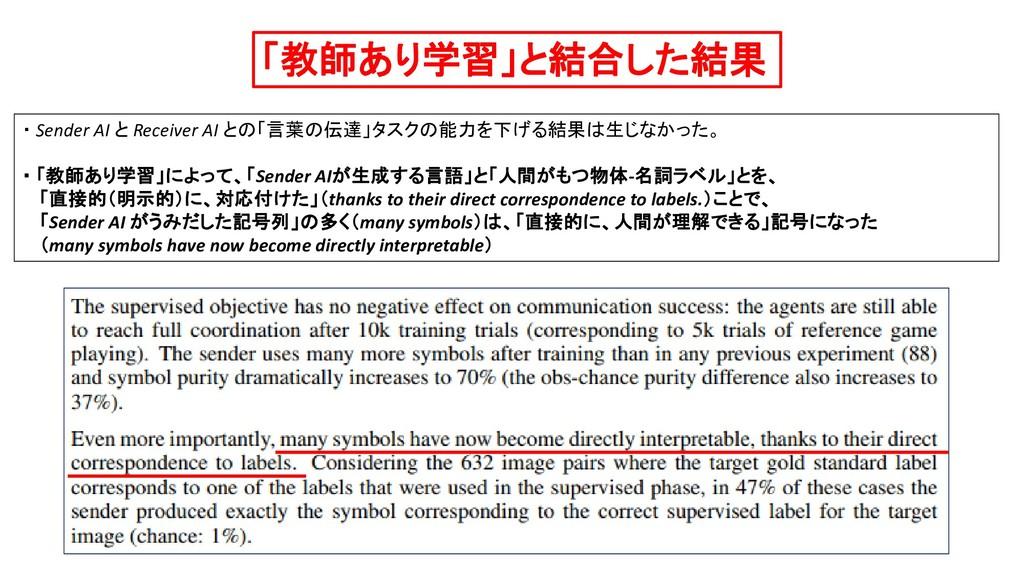 「教師あり学習」と結合した結果 ・ Sender AI と Receiver AI との「言葉...
