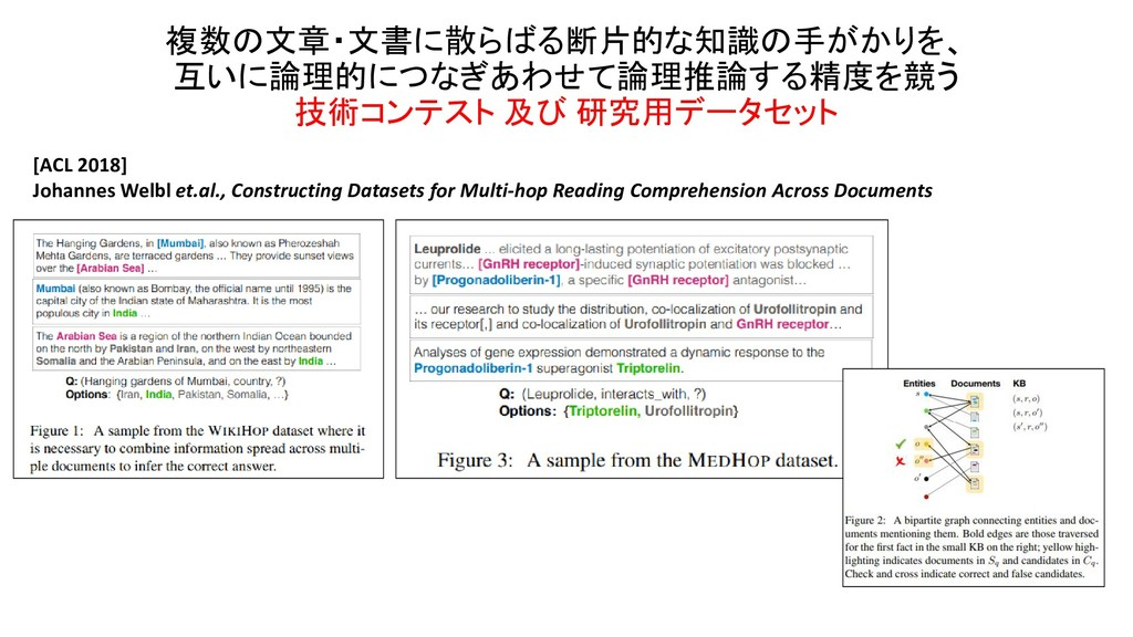 複数の文章・文書に散らばる断片的な知識の手がかりを、 互いに論理的につなぎあわせて論理推論する...