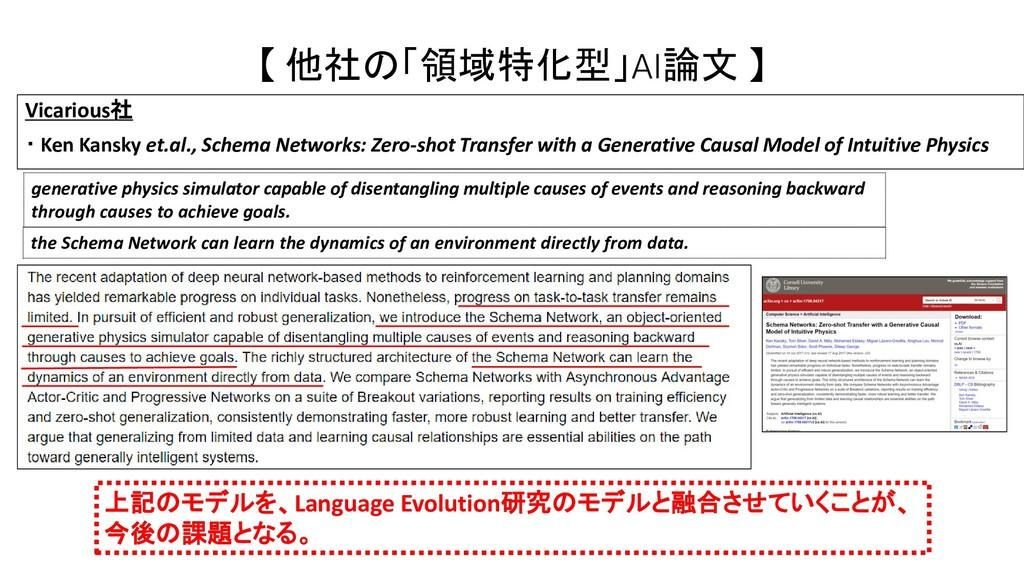 【 他社の「領域特化型」AI論文 】 上記のモデルを、Language Evolution研究...