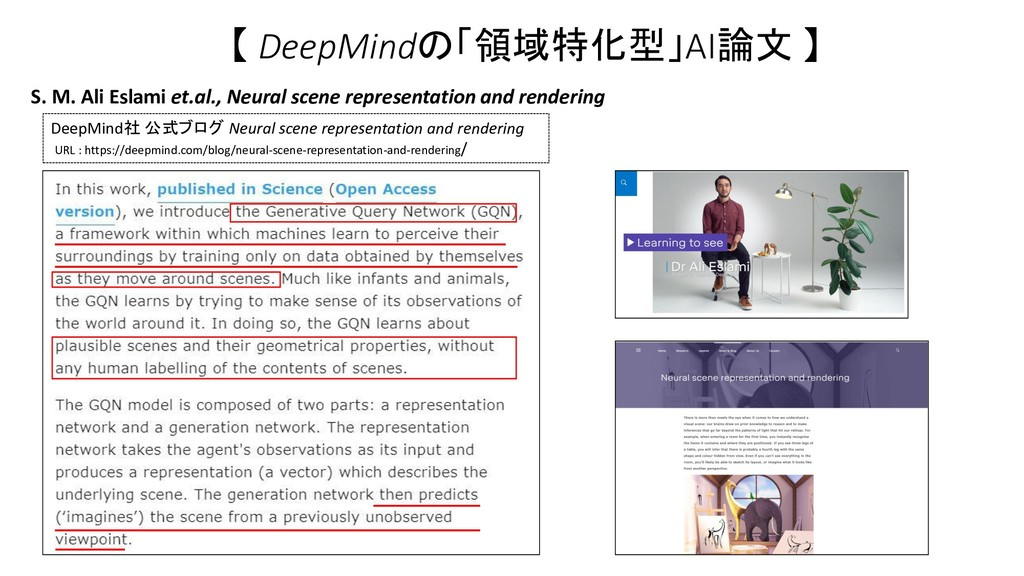 【 DeepMindの「領域特化型」AI論文 】 S. M. Ali Eslami et.al...
