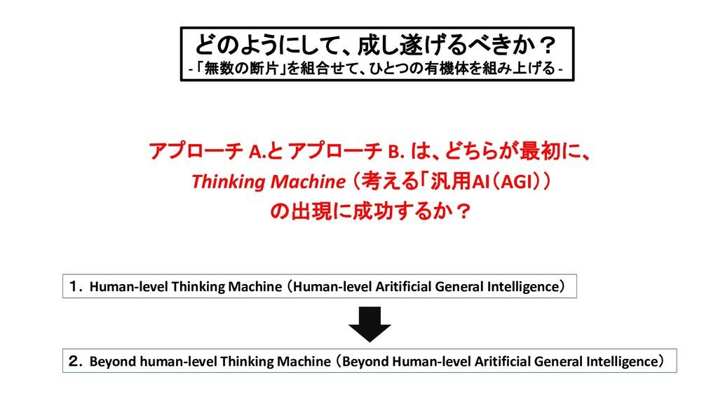アプローチ A.と アプローチ B. は、どちらが最初に、 Thinking Machine ...