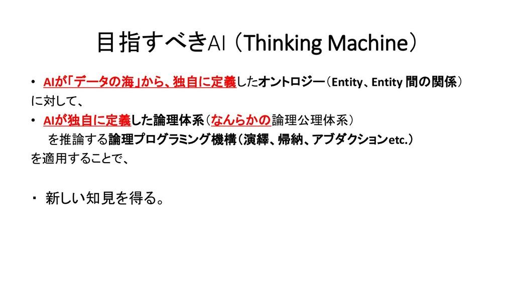 目指すべきAI (Thinking Machine) • AIが「データの海」から、独自に定義...