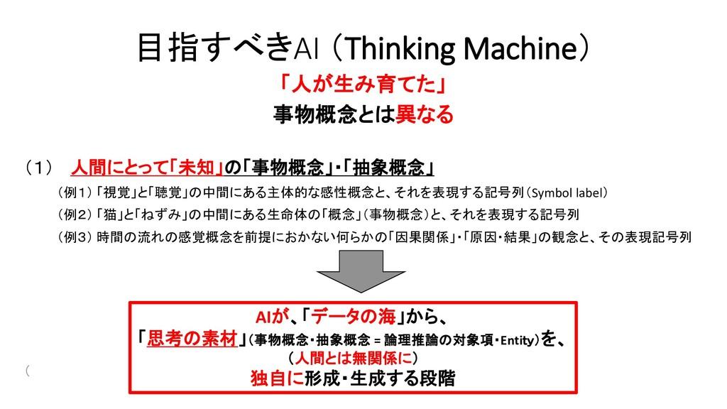 目指すべきAI (Thinking Machine) 「人が生み育てた」 事物概念とは異なる ...