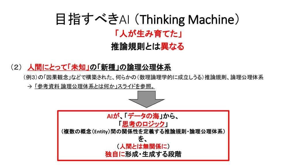 目指すべきAI (Thinking Machine) 「人が生み育てた」 推論規則とは異なる ...