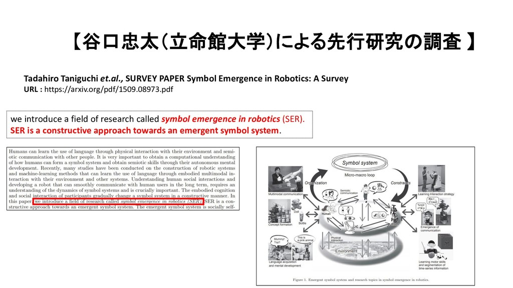 【谷口忠太(立命館大学)による先行研究の調査 】 Tadahiro Taniguchi et....