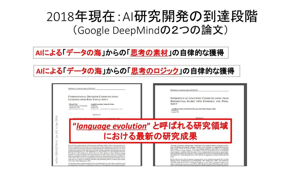 2018年現在:AI研究開発の到達段階 (Google DeepMindの2つの論文) AIに...