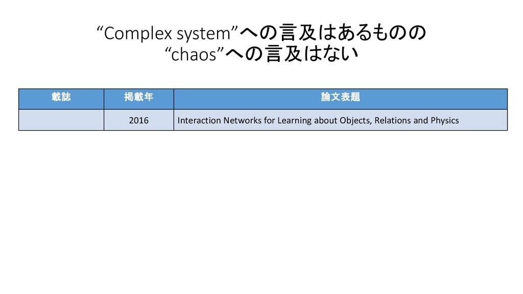 """""""Complex system""""への言及はあるものの """"chaos""""への言及はない 載誌 掲載..."""