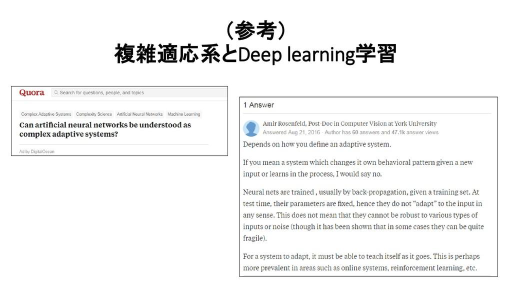(参考) 複雑適応系とDeep learning学習