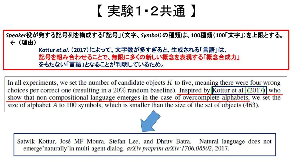 【 実験1・2共通 】 Speaker役が発する記号列を構成する「記号」(文字、Symbol)...