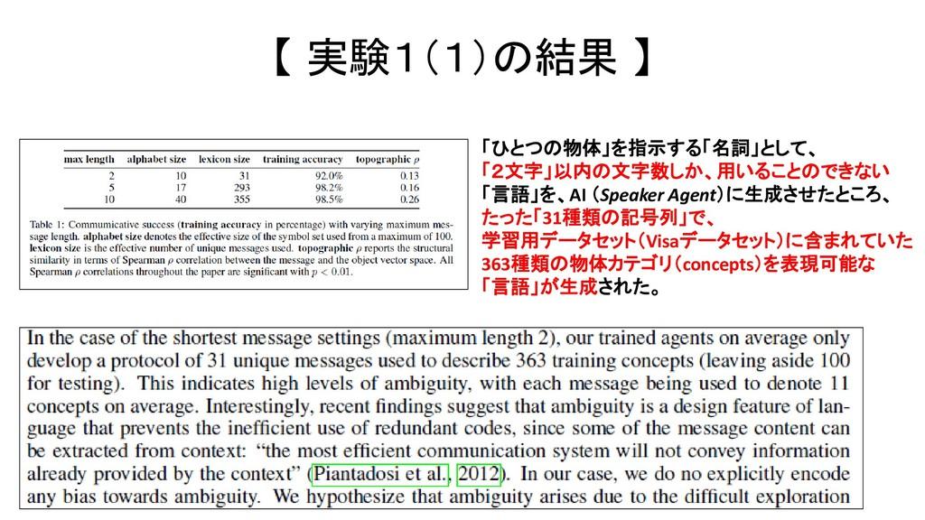 【 実験1(1)の結果 】 「ひとつの物体」を指示する「名詞」として、 「2文字」以内の文字数...